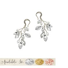 Pretty Pearl Vine Wedding Earrings, a trailing frond of dainty wired marquise crystal leaves and pretty pearls set onto crystal embellished hook earrings. A botanical themed jewellery accessory, perfect for spring or summer weddings. Pearl Set, Summer Weddings, Wedding Earrings, Belly Button Rings, Vines, Jewelry Accessories, Leaves, Bridesmaid, Jewellery