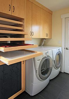 Laundry-Room Trifecta: Hamper, storage area, and drying racks - Fine Homebuilding Article