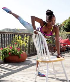 Gotta start doing this ASAP! 8 Exercises You Can Do With a Chair - A barre-inspired workout to tone and tighten everything, anywhere. Heath And Fitness, Love Fitness, Fitness Tips, Fitness Motivation, Health Fitness, Toning Workouts, At Home Workouts, Fitness Exercises, Ballet