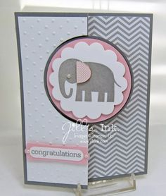 Stampin' Up Zoo Babies Flip Card Front 2 . gray and white with touches of pink . adorable elephant with a pink each on the circle flip element . chevron patterned paper in gray and white. Baby Girl Cards, New Baby Cards, Flip Cards, Cute Cards, Card Drawing, Drawing Tips, Swing Card, Baby Shower Invitaciones, Baby Shower Cards