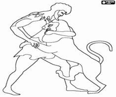 Colorear La lucha de Heracles y el león