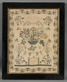 "Needlework Sampler, ""Sarah Ann Vinall Aged 10 Years 1835,"" England, worked in silk threads on a wool ground."