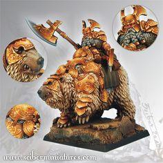 Dwarf General On War Bear - Scibor (x1 fig)