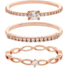 Accessorize Rose Gold Crystal Stacking Ring Set ($33) ❤ liked on Polyvore featuring jewelry, rings, accessories, rose gold jewelry, crystal jewellery, pink gold rings, stackers jewelry and red gold ring