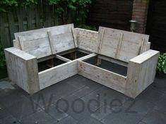 Loungebank steigerhout met opbergruimte
