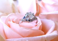 SOLD - Beautiful 1920's 1.53 carat Old European cut diamond set in a platinum, diamond and sapphire detail mounting.