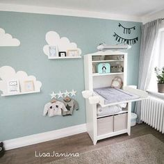 Wall design of baby room boy - Baby room - Kinderzimmer Baby Room Boy, Baby Room Decor, Nursery Room, Girl Nursery, Girl Room, Kids Bedroom, Clouds Nursery, Blue Nursery Ideas, Pastel Nursery