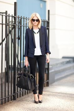 Navy tuxedo jacket, white shirt, black pants
