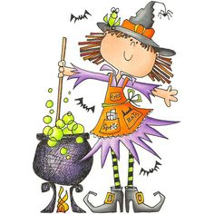Witch and Cauldron Clip Art Halloween Chat Noir, Halloween Cards, Holidays Halloween, Fall Halloween, Happy Halloween, Halloween Decorations, Halloween Witches, Halloween Illustration, Halloween Clipart
