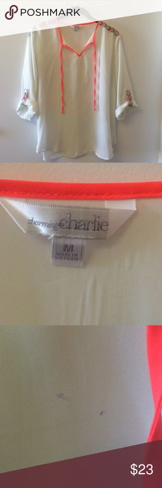Charming Charlie Top White shirt from Charming Charlie. Bright coral strings with gray, mint and cream chevron designs on shoulder and sleeve. No damage, just two barely noticeable pen marks on the front shown in the 3rd picture. Slightly sheer, 100% polyester. Charming Charlie Tops