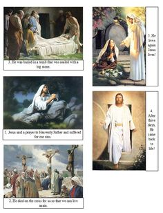 I printed these on photo paper, and cut them out, one set for each child. I also used this to teach the Easter lesson for nursery. They are numbered to help the kids put them in the right order.