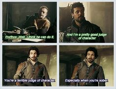 The Musketeers - Oh Aramis that's.... ouch man, that hurts Porthos' feels
