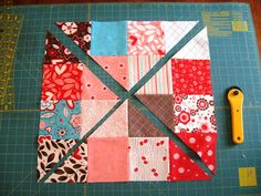 TUTORIAL FOR DISAPPEARING 16 PATCH. Chart to calculate sizes and number of blocks needed for square and rectangle shape quilts. Nice look for such an easy process!