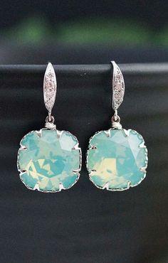 Mint Wedding Swarovski Bridesmaid Earrings from EarringsNation