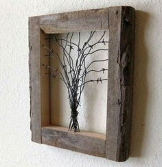Reclaimed Barn Wood and Barbed Wire Tree Wall Art. This is about the ONLY thing barbed wire is good for. I could totally do this too. we have the wood and way too much crap barbed wire that I can't wait to make disappear. art design landspacing to plant Barn Wood Crafts, Barn Wood Projects, Reclaimed Wood Projects, Reclaimed Barn Wood, Old Wood, Diy Projects, Rustic Wood, Barnwood Ideas, Barn Wood Decor