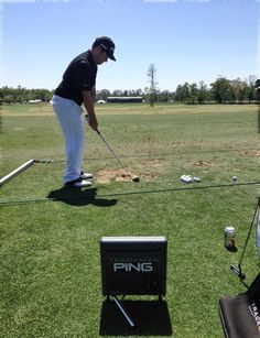 "March 27, 2013: ""With his S56 iron in hand, PING Pro Louis Oosthuizen dials in his distances with a little help from @TrackManGolf,"" reported Ping Golf (@PingTour)."