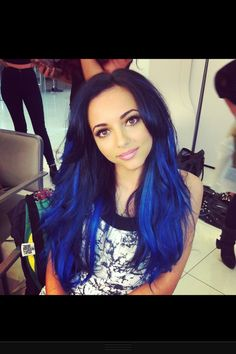 jade thirlwall electric blue hair! i absolutely love this color. i really want to get this color blue in my hair but have it as blue highlights underneath.