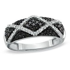 1/3 CT. T.W. Enhanced Black and White Diamond Argyle Ring in 10K White Gold