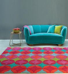 Teppich Design Kurzflor Modern HARLEQUIN RUG  rot/grün Retro A100395