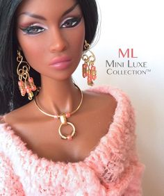 Fashion Doll Jewelry - Pink Chandelier Earrings with necklace for Fashion Royalty, Barbie  by MiniLuxeCollection, $30.00