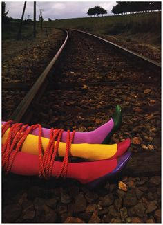 Photo Guy Bourdin Charles Jourdan Autumn 1970 – three color  All I can think is where is the 4th leg....