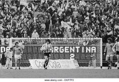 1978 World Cup Final in Buenos Aires, Argentina. Argentina 3 v Holland 1 after extra time. Argentina's Mario Kempes walks back with the ball after scoring his second goal. 25th June 1978. - Stock Image