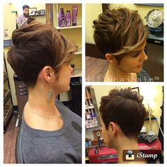 How to style the Pixie cut? Despite what we think of short cuts , it is possible to play with his hair and to style his Pixie cut as he pleases. Pixie Hair Color, Blonde Pixie Cuts, Short Hair Cuts, Pixie Hairstyles, Pixie Haircut, Cool Hairstyles, Hair Color Balayage, Ombre Hair, Shaved Pixie Cut