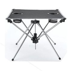 Table Portable Fold-Up Gray with Cup holder Camping Beach Picnic Outdoor Party #RoseArt