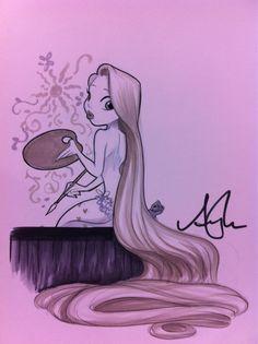 Pinup Rapunzel for an artist #D23Expo commission  http://amymebberson.tumblr.com/