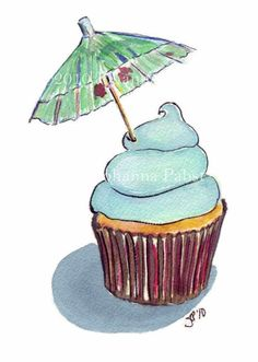 Cupcake Art Original Watercolor Painting - Tropical Cupcake with Umbrella Watercolor Art, 5x7 matted to 8x10