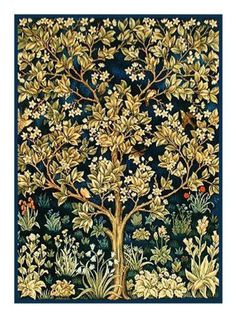 Tree of Life detail from The Garden of Earthly Delights by Arts and Crafts Movement Founder William Morris Counted Cross Stitch or Counted Needlepoint Pattern