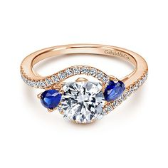 Gabriel - Demi 14k White And Rose Gold Round Bypass Engagement Ring