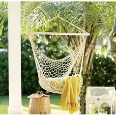 Beachcrest Home Parker Woven Cotton Chair Hammock Defined by a simple recycled cotton design and spreader bar, the lovely Parker Woven Tree Hammock Chair lends a breezy touch to your outdoor ensemble. Hang it from a tree branch in the back yard for a charming seat to lounge on warm and sunny days, or hang it from a sturdy beam on your veranda to give guests a fun seat while everyone waits for the burgers to grill.   {affiliate link}