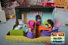 Cardboard Shoe Box Play House With Egg Carton Furniture from Pink and Green Mama
