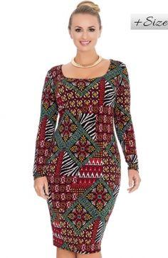 Neformálne šaty pre moletky s rôznorodým vzorom Tapestry print long sleeve curve jersey