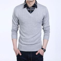 9428e582974e1 Mens Casual Plain Pullover Sweater. Polo SweaterSweater OutfitsCotton  SweaterMen SweaterPullover SweatersMens Modern ClothingTwo PiecesMen Casual Workplace
