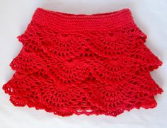 Red Crochet Toddler Ruffle Skirt