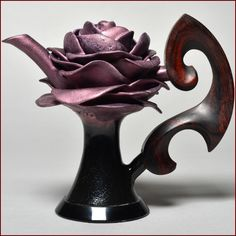 Don Frith Full Blossomed Rose Teapot, Dark Violet Glaze, Cocobolo