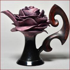 Don Frith Full Blossomed Rose Teapot, Dark Violet Glaze, Cocobolo