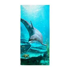 Gatterwe: Dolphin Beach Towel: A proud dolphin swims in the ocean! A beautiful underwater scene! Bath Products, Beach Towel, Dolphins, Underwater, Whale, Scene, Swimming, Animals, Beautiful
