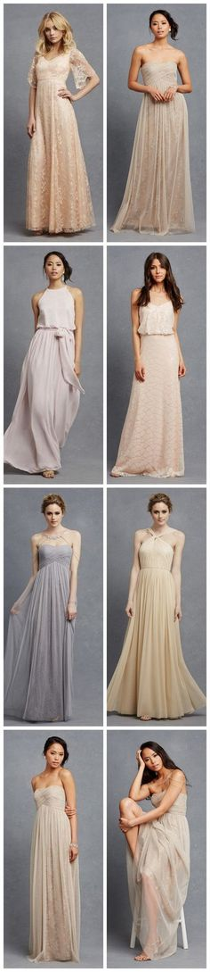 Chic, Neutral bridesmaid dresses in so many gorgeous silhouettes and fabrics! http://www.confettidaydreams.com/chic-romantic-bridesmaid-dresses/