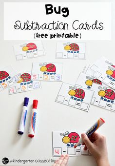 Grab these FREE Bug Subtraction Cards and place them in a math center with dry erase markers! Easily see and count 3 parts of a subtraction equation!