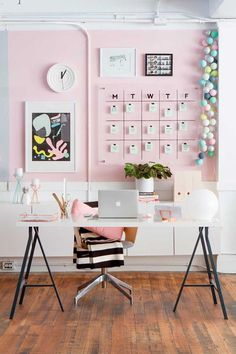 Home Office Desk Decor Ideas . Home Office Desk Decor Ideas . Modern Pink White and Black Home Office Workspace Decor Pink Office Decor, Home Office Decor, Cheap Office Decor, Pink Home Decor, Cheap Office Ideas, Office Room Ideas, Pastel Room Decor, Feminine Office Decor, Pastel Bedroom