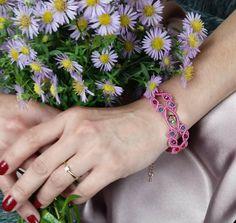 Wide bracelet. Pink gold and swarovski bracelet. Gift for her. Romantic gift, Gift for wife by EsmeJewelleryArt on Etsy
