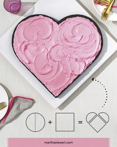 Heart-Shaped Cake | Martha Stewart Living - All it takes is a few cuts. Try this easy technique for a cake just right for Valentine's Day.