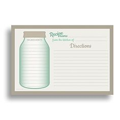Mason Jar Recipe Card Set from Dashleigh, 48 Cards, inches, Water-Resistant and High Quality dashleigh, Draw your herbal recipes in the jar Mason Jar Crafts, Mason Jars, Printable Recipe Cards, Recipe Printables, Recipe Templates, Pots, Recipe Binders, Meals In A Jar, Scrapbooking