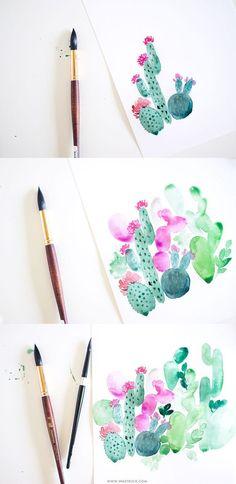 Watercolor cactus painting tutorial | Inkstruck Studio #watercolorarts
