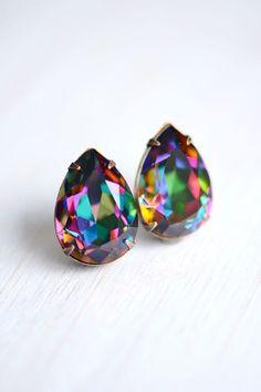 Electra Post Crystal Earrings Sterling Silver  by ShopHedgerowRose