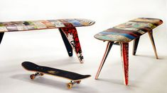 """recycled skateboard bench - 60"""" Three seater"""