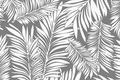 Outdoor-Stoff Spain Lounge - Palmblätter - Hellgrau/Weiß